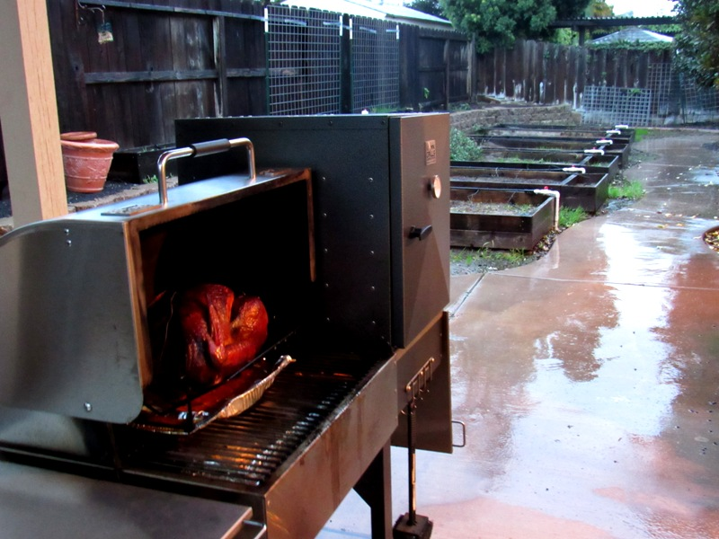 Smoked Turkey in the rain