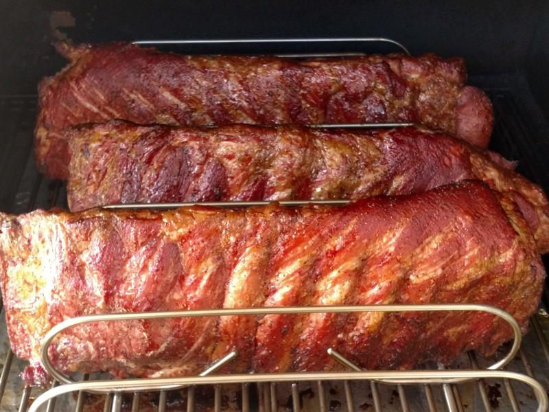 Spareribs smokin' at 225ºF
