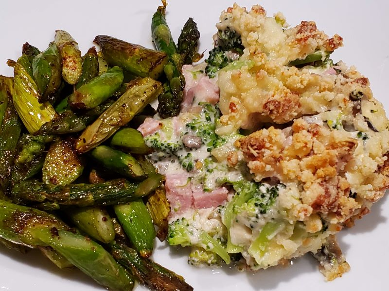 Low Carb Ham and Broccoli Crusty Casserole
