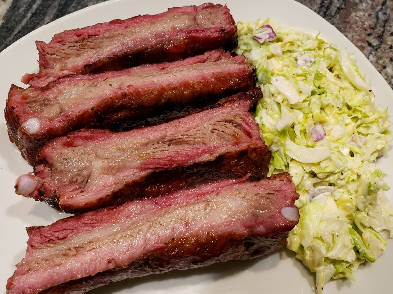 Smoked Ribs and Cole Slaw