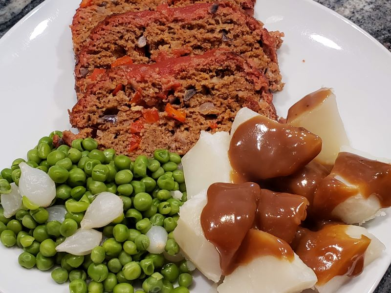 Smoked Meatloaf with sides