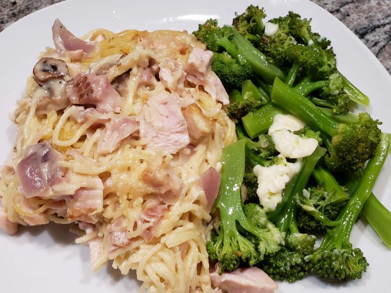 Smoked Turkey Tetrazzini with Fresh Broccoli